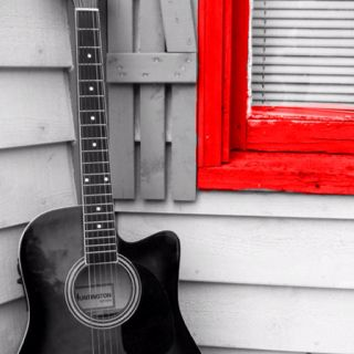 Black And White Red Acoustic Guitar