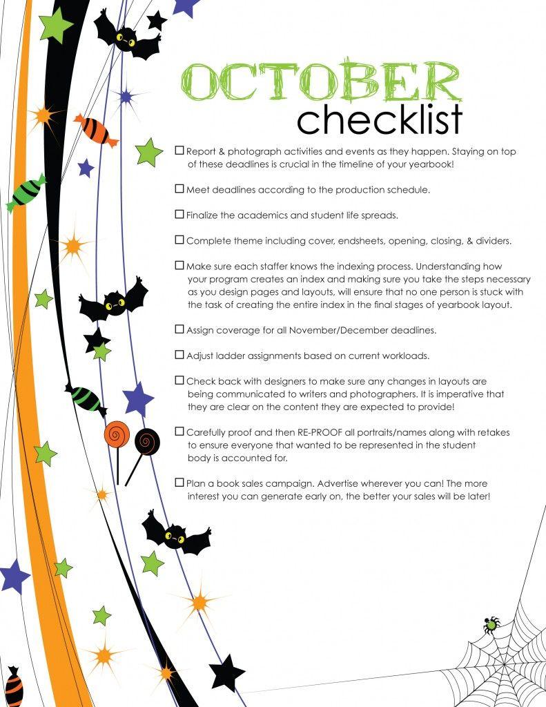 October checklist yearbook pinterest yearbooks yearbook ideas