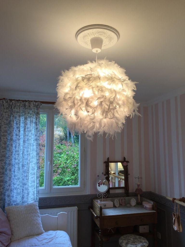 Lampe plumes diy luminaire plume luminaire deco Lustre de chambre
