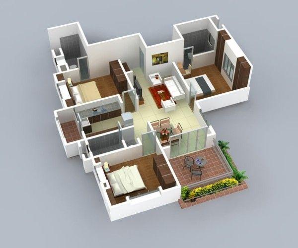 Planos de casas y apartamentos en 3 dimensiones for Modelos de patios de casas pequenas