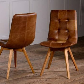 Vintage Leather Buttoned Curved Seat Dining Chair   Office ...