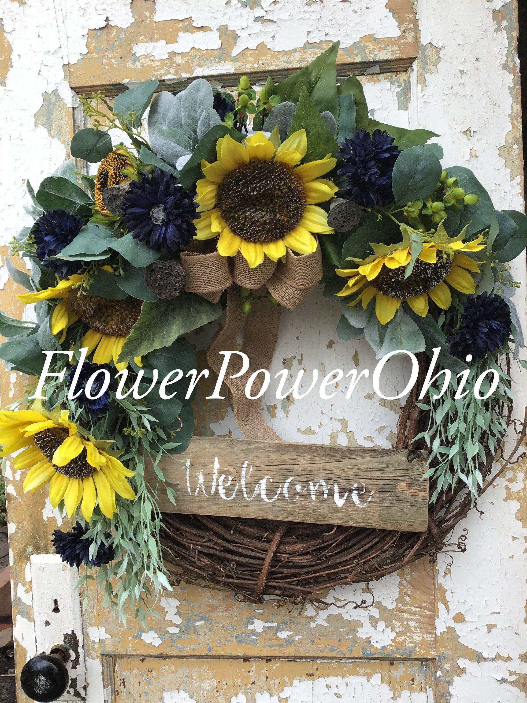 Photo of Spring Wreath for Front Door, Sunflower Wreath, Summer Wreath