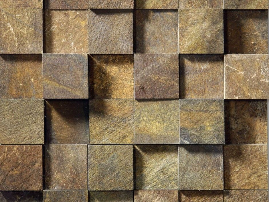 3d stone wall cladding idea with boxy natural stone mosaic for Stone wall art