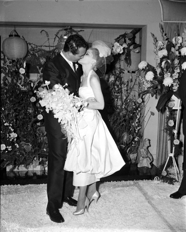 Photo of Hollywood actress Debra Paget married David Street in Los Angeles, California, 1…