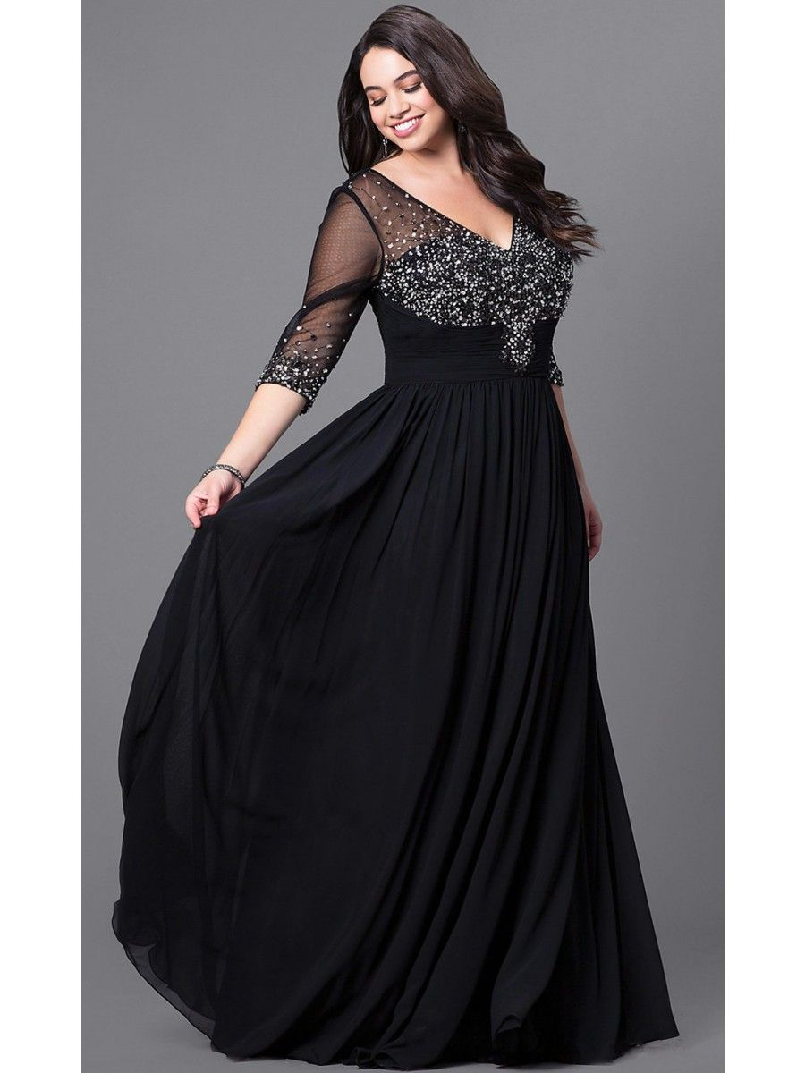 A-Line 3/4 Length Sleeves V-Neck Beaded Long Black Plus Size ...