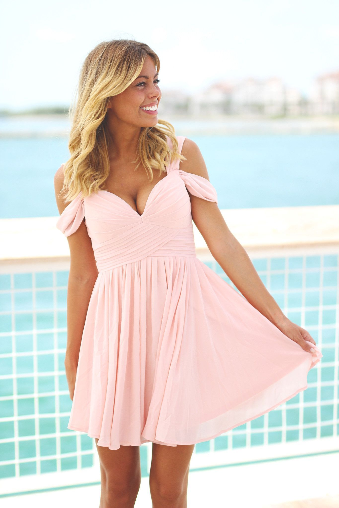 Blush off shoulder short dress products pinterest products