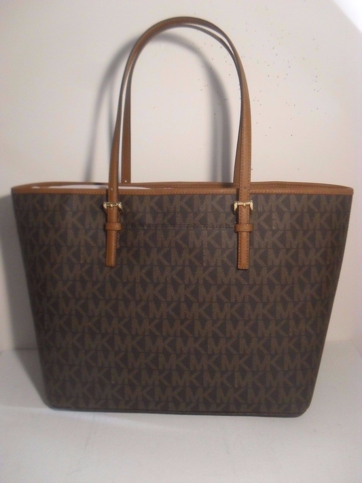 34017d33a4a27 NWT Michael Kors Jet Set Brown MK Signature Carryall PVC Large Tote Shopper  Bag  129.95