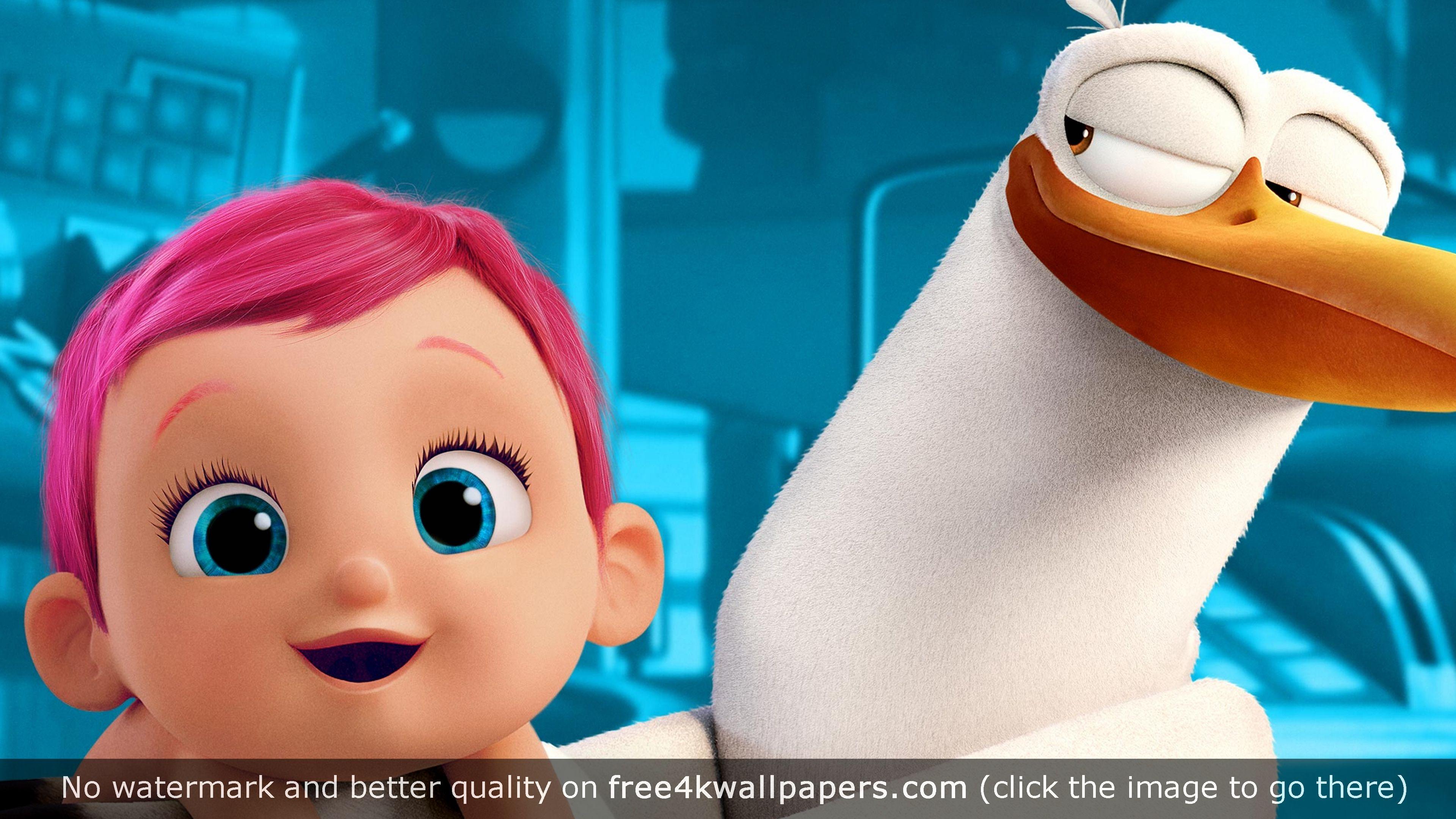 junior baby storks animation 4k 4k wallpaper | desktop wallpapers