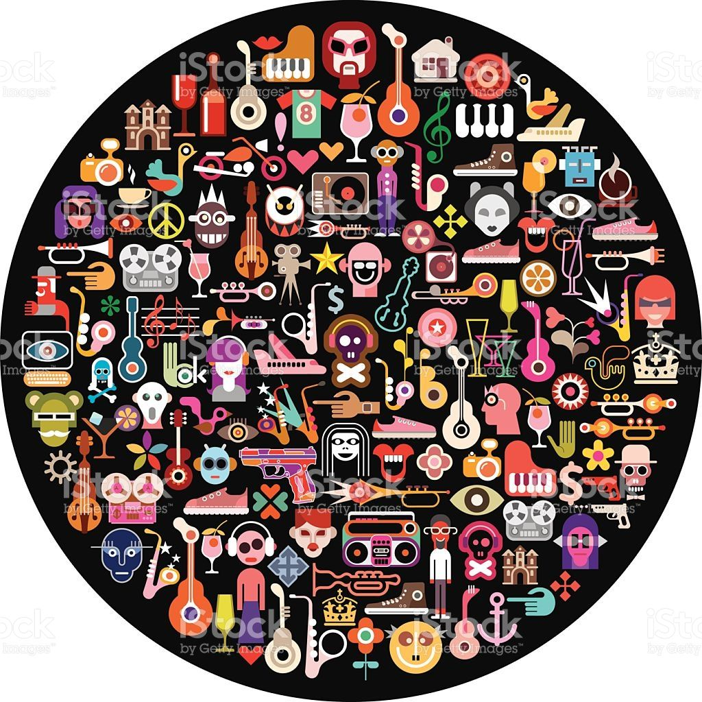 Art collage of many different images on round black background ...