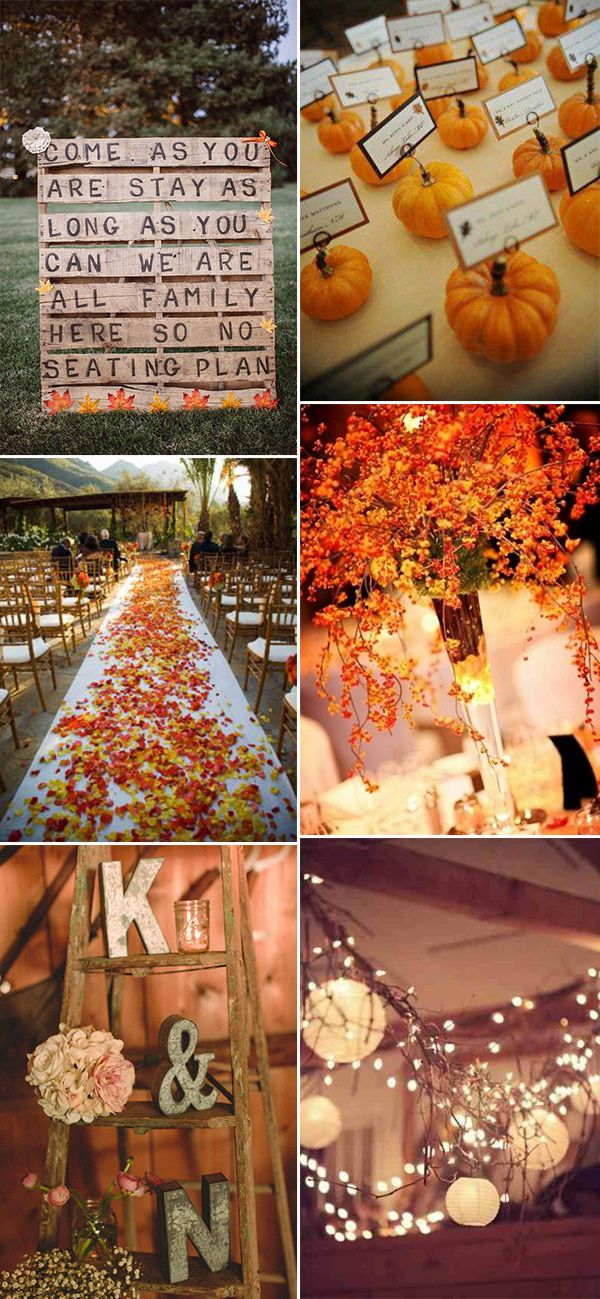 30 great fall wedding ideas for your big day pinterest top 6 great rustic fall wedding decoration ideas junglespirit Gallery