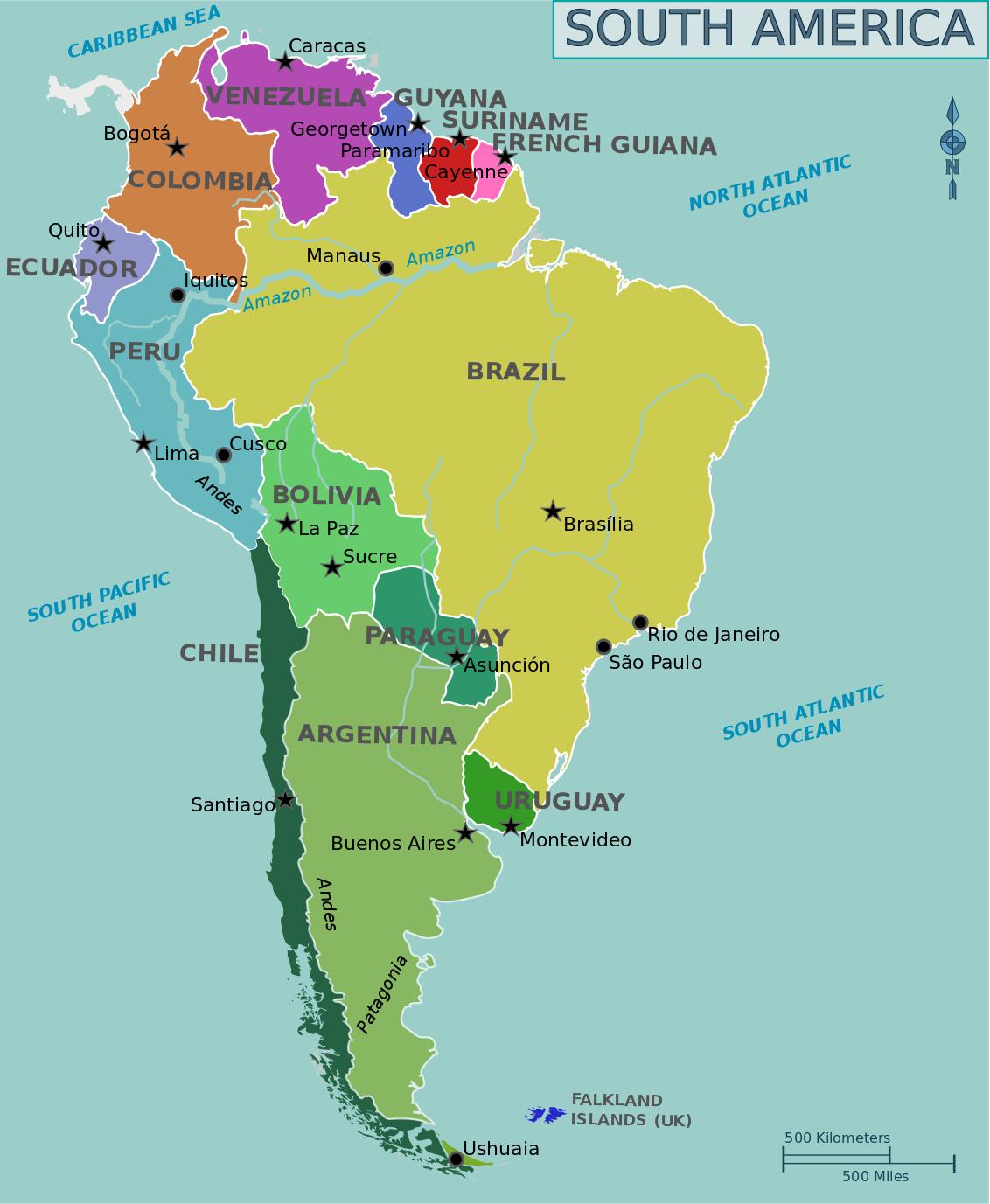 Un Mapa Bonito De América Del Sur Viaje En America Del Sur Mapa De America Mapa De America Del Sur
