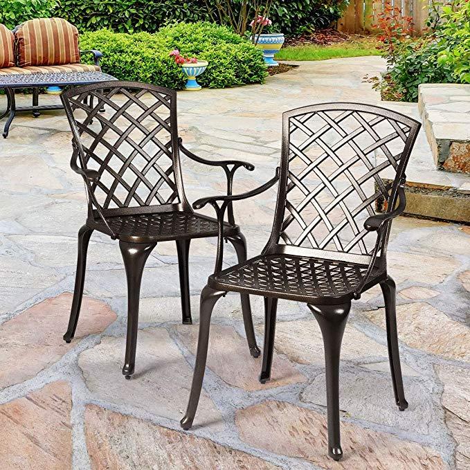 Amazon Com Giantex Aluminum Arm Dining Chairs Set Of 2 Durable