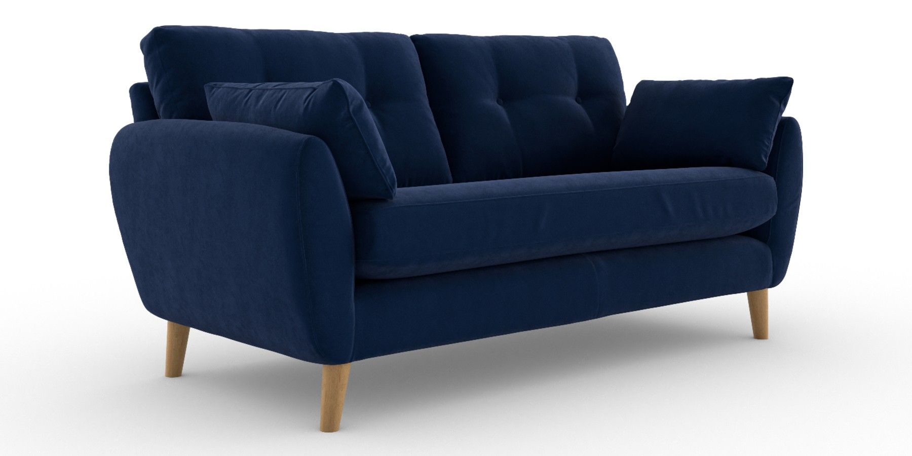 Buy Wilson Button Back Large Sofa 3 Seats Plush Velvet Navy Low Retro Tapered Light From The Next Uk Online Shop Large Sofa Sofa Next Sofa