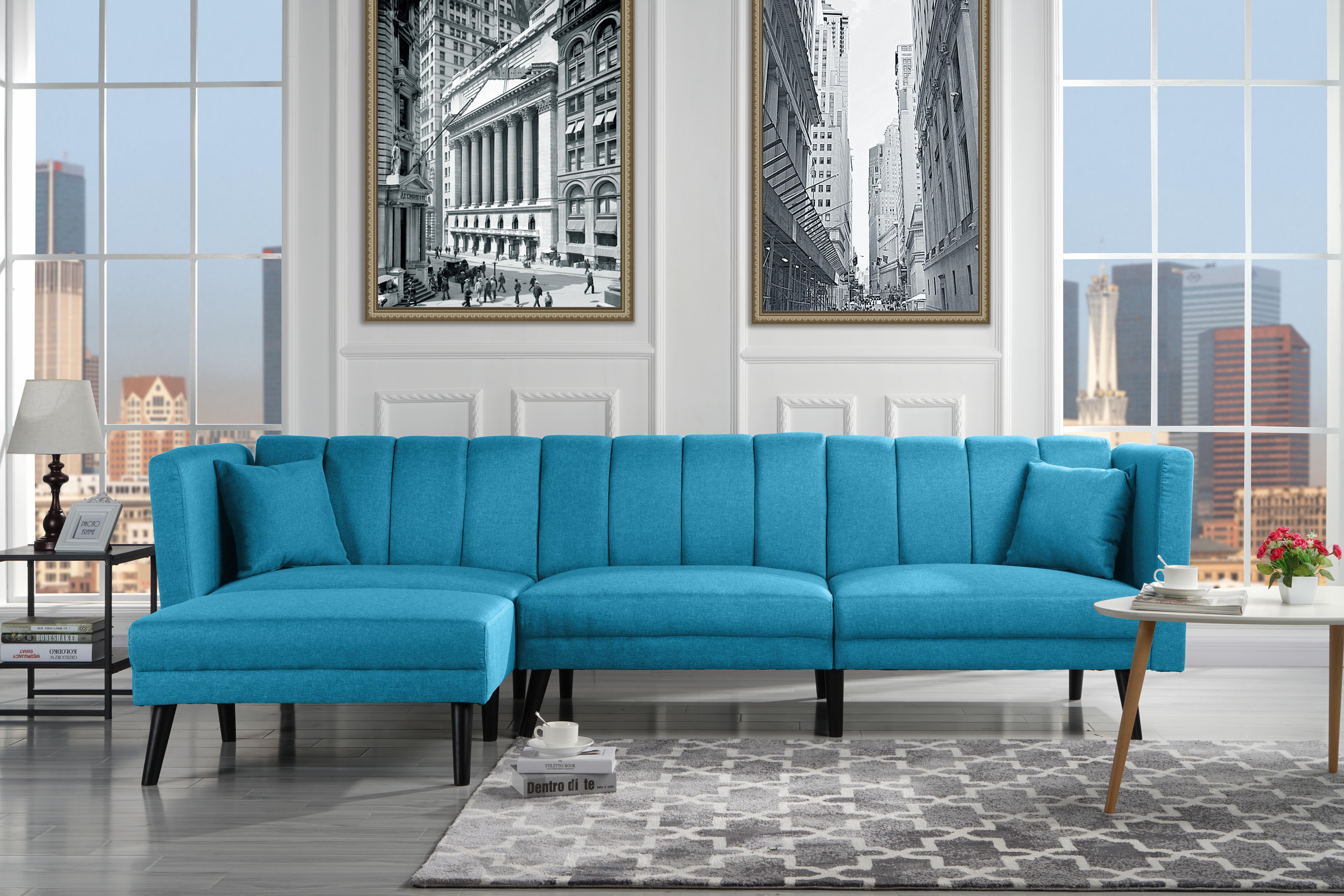 Mid Century Style Sectional Couch Sleeper Futon Reclining Sky Blue Walmart Com In 2020 Blue Sofas Living Room Classic Sofa Living Room Sectional Sofa Couch
