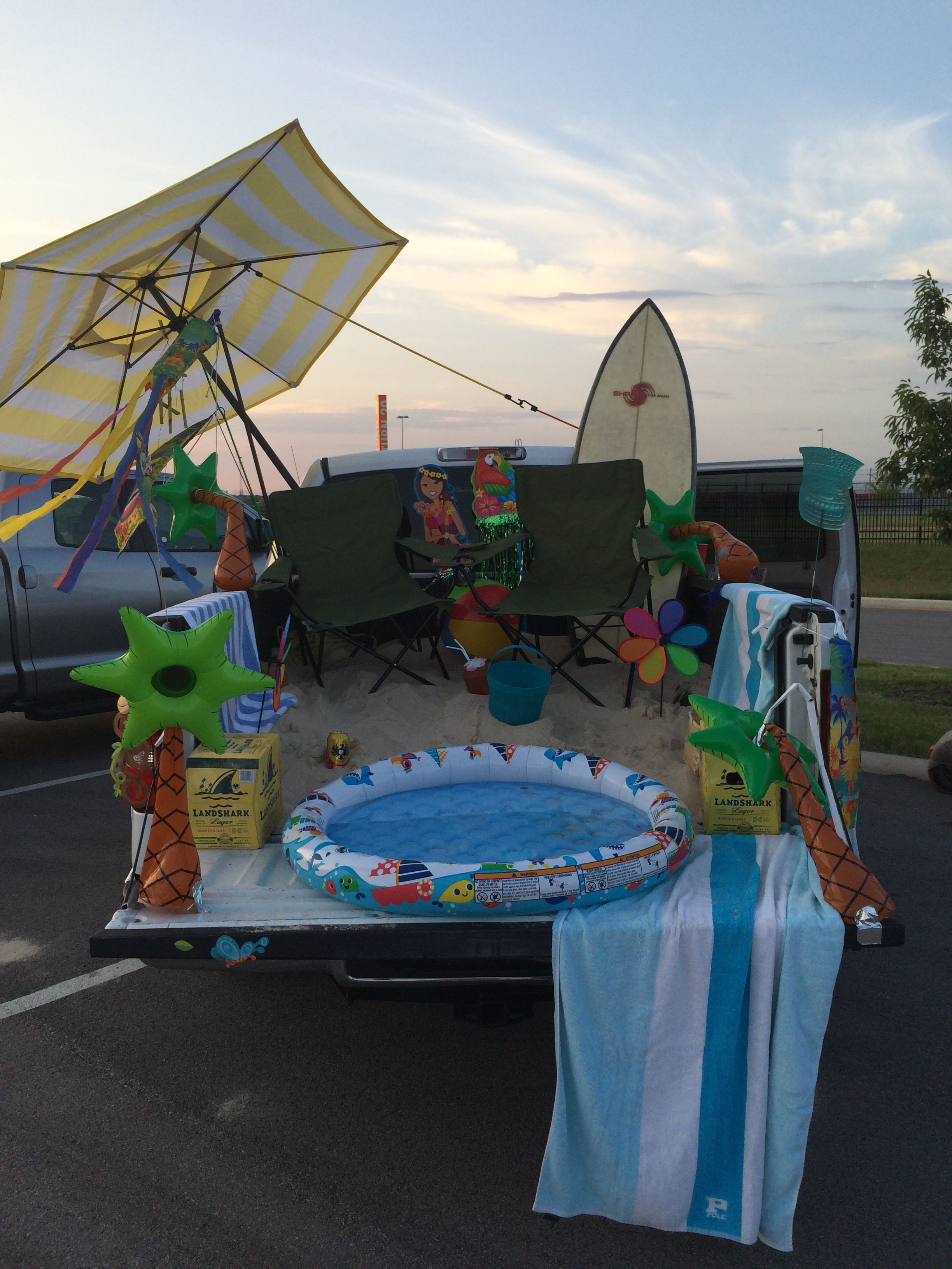 Decorate Truck Bed Halloween Part - 20: Our truck bed tailgate, set up for Buffett tailgating in Austin, TX 2014
