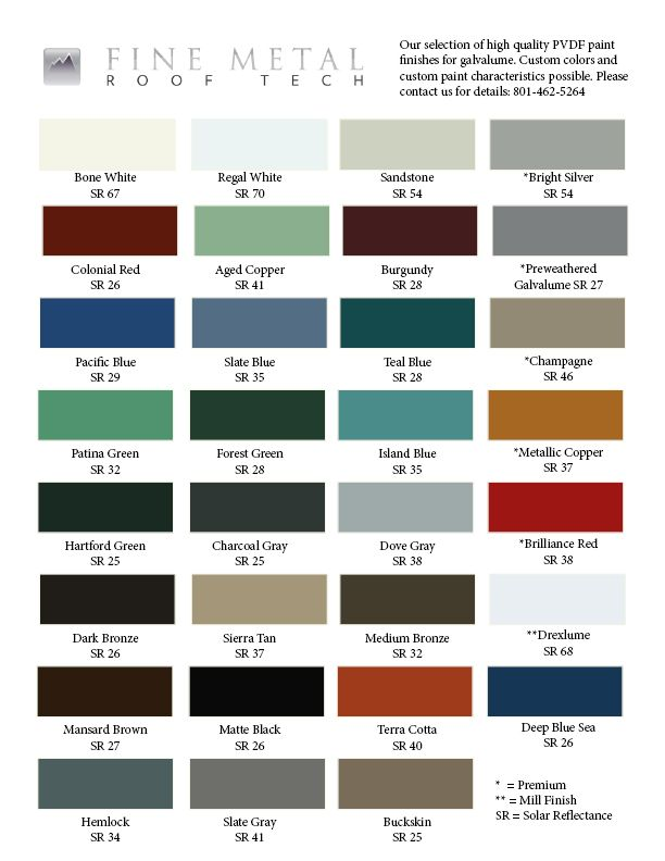 Best Color Chart For Galvalume With Images Metal Shingles 400 x 300