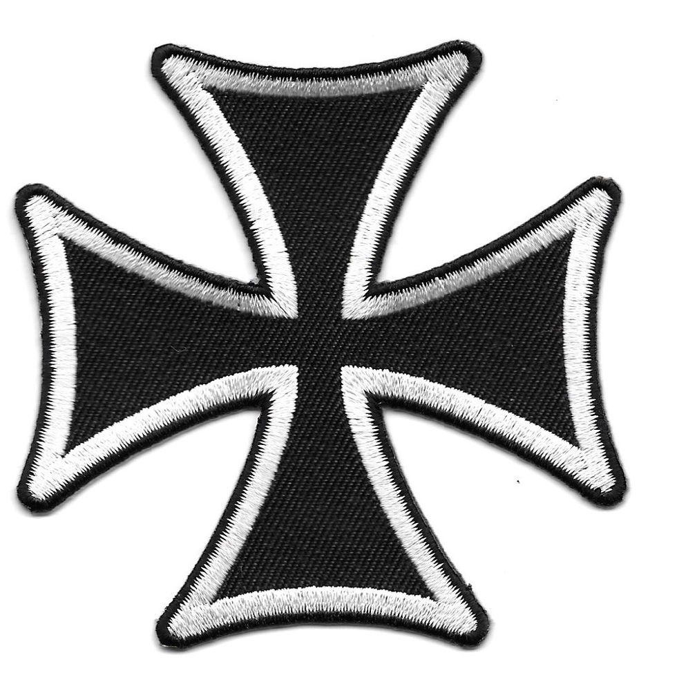 Celtic maltese cross biker black white iron on badge bikers 3 maltese cross embroidered whiteblack edge iron on applique patch biocorpaavc