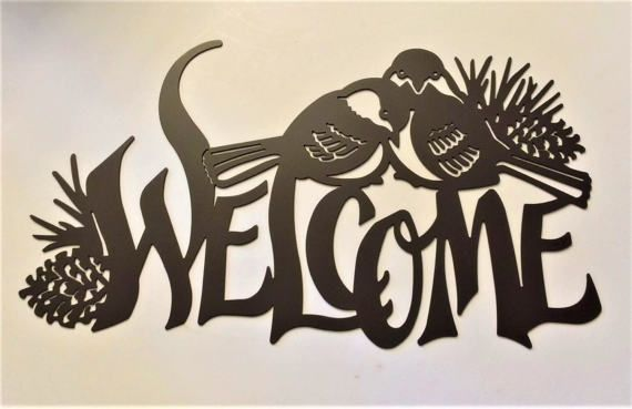 Plasma Cut Sparrows In Love Metal Wall Art Welcome Sign Bird Decor Garden Housewarming Country Farm And Ranch Pine Trees