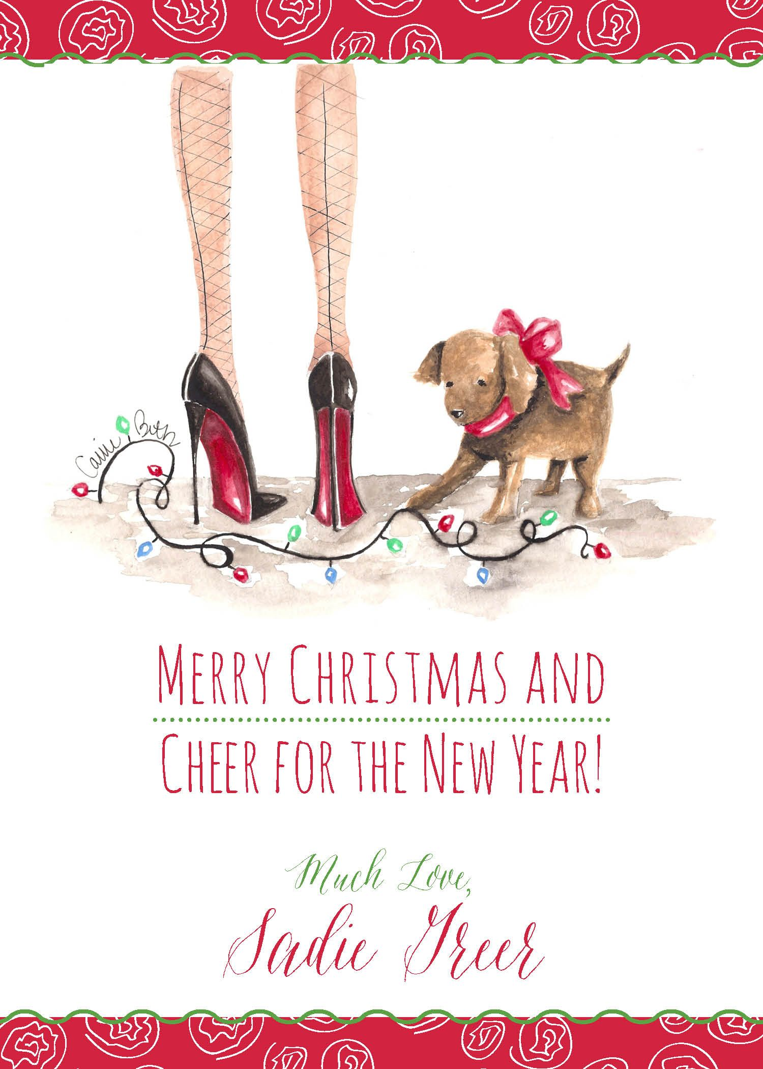 Puppy's First Christmas — Carrie Beth www.carriebethtaylor.com Fashion Illustration Stationery