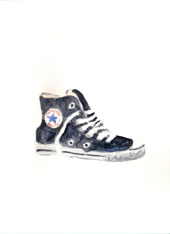 1360cff132eb3 FREE SHIPPING Original watercolor painting Converse by Mydrops ...