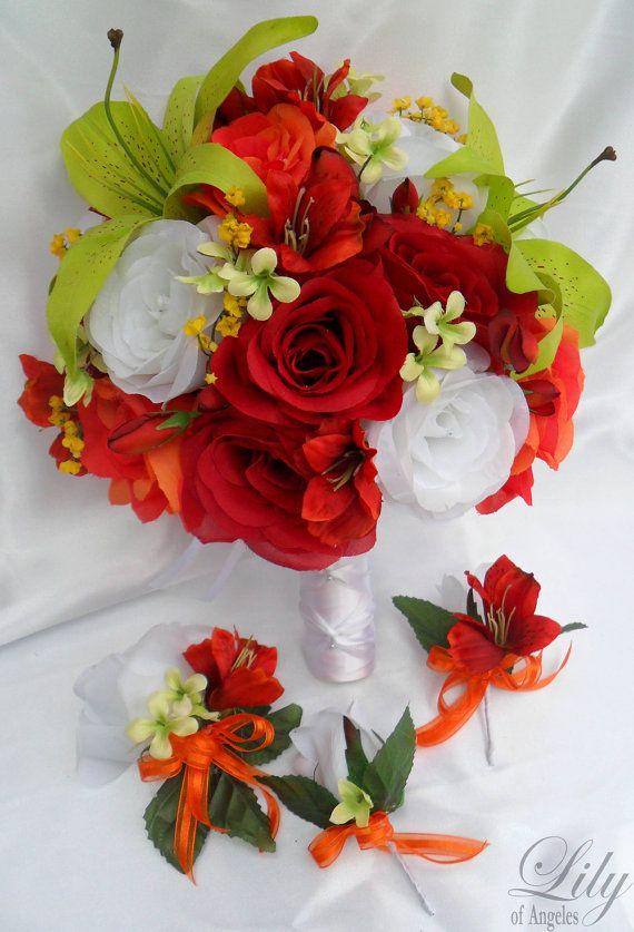 17pcs Wedding Bridal Bouquet Set Decoration Package Silk Flowers ...