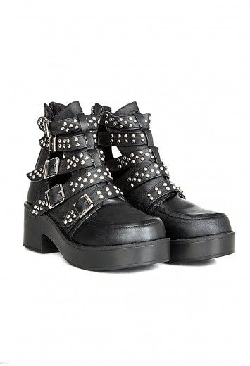 Missguided - Mulita Cut Out Studded Ankle Boots