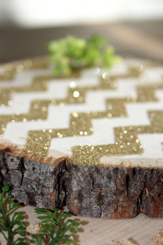chevron gold glitter tree trunk stump slice centerpiece by dappsy rh in pinterest com
