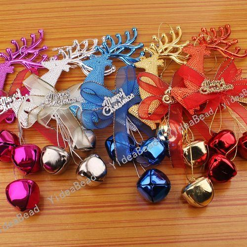 Bell Decorations Fair Wholesale 10Pcs Mixed Xmas Silver Plastic Reindeer Jingle Bells Decorating Design