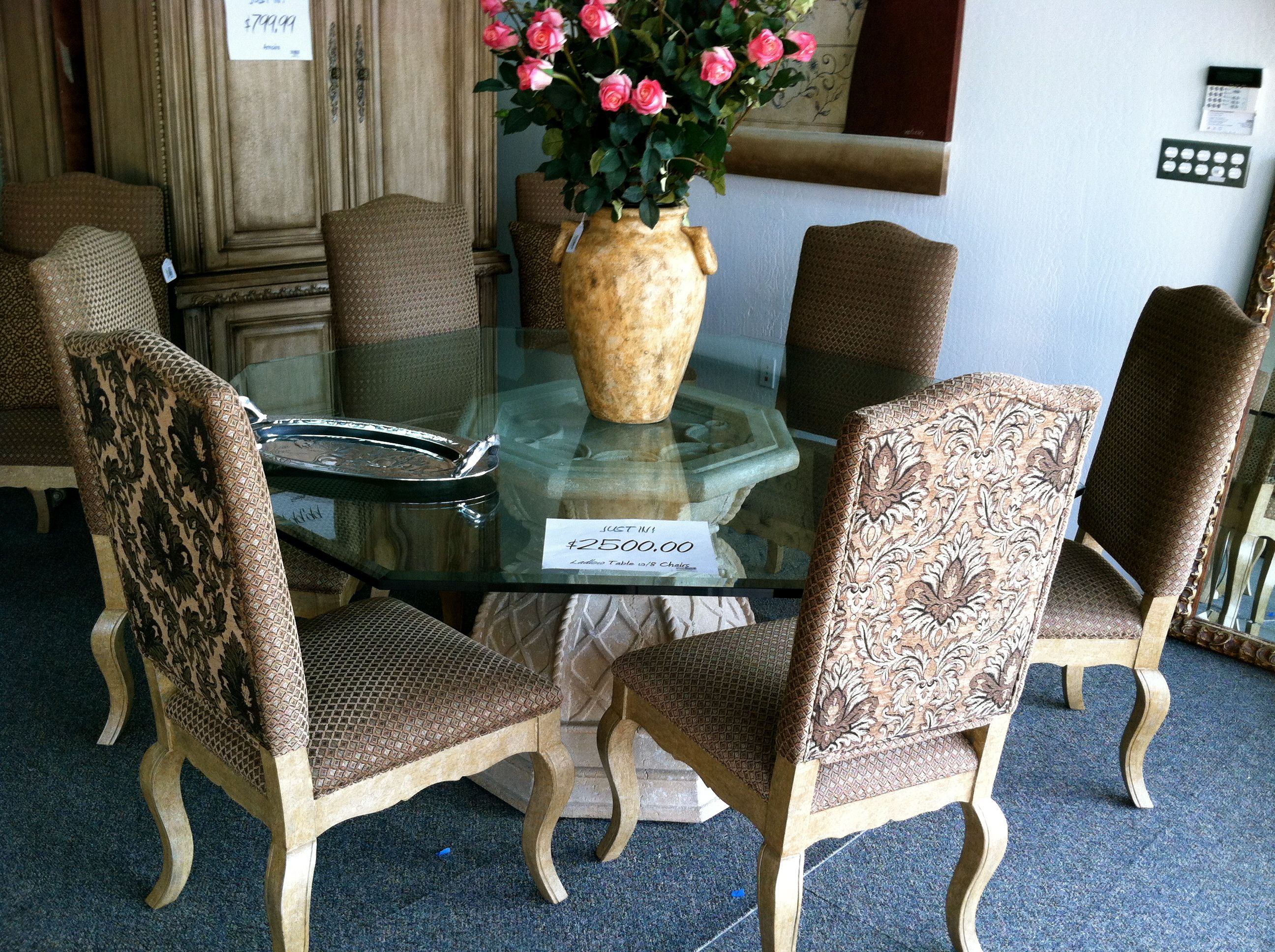 Amazing Table With 8 Chairs Iconsign Stores Thomas Road This Is An Incredible Glass Top Table Wi Used Furniture Stores Consignment Furniture Furniture Store