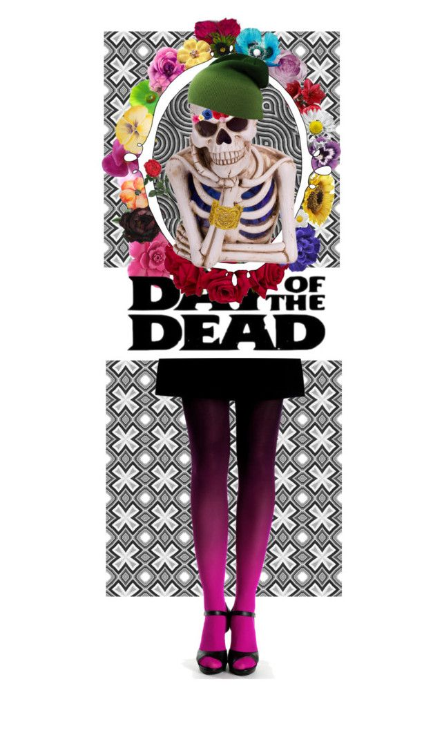 """""""Day of the Dead"""" by beardwhitney on Polyvore featuring art, Dayofthedead, happyhalloween and stripeandfloralmix"""