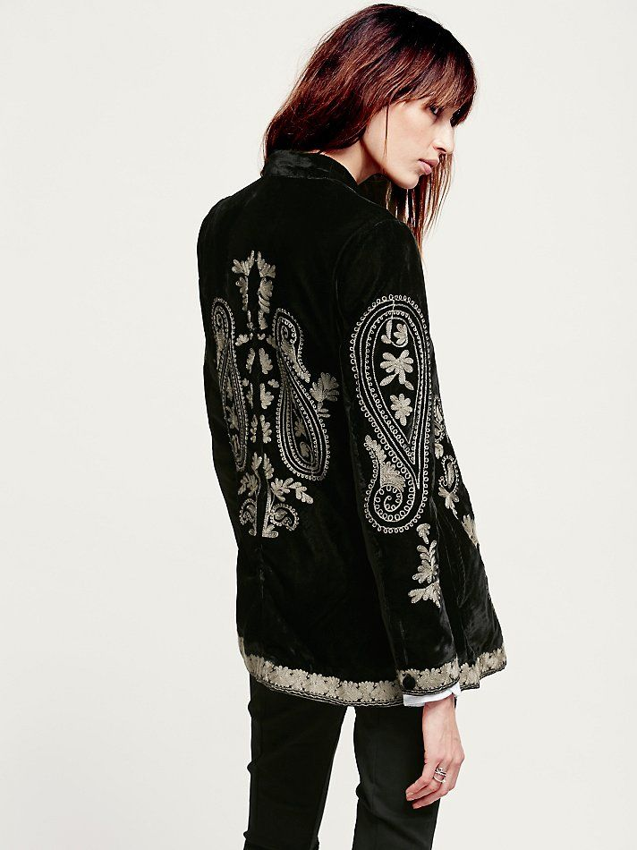 Free People Embroidered Velvet Coat at Free People Clothing Boutique