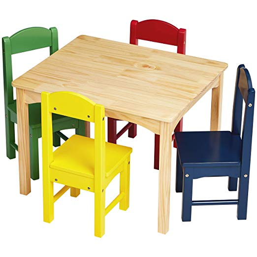 Amazon Com Amazonbasics Kids Wood Table And 4 Chair Set Natural Table Assorted Color Chairs Kids Wooden Table Wooden Table And Chairs Kids Table And Chairs