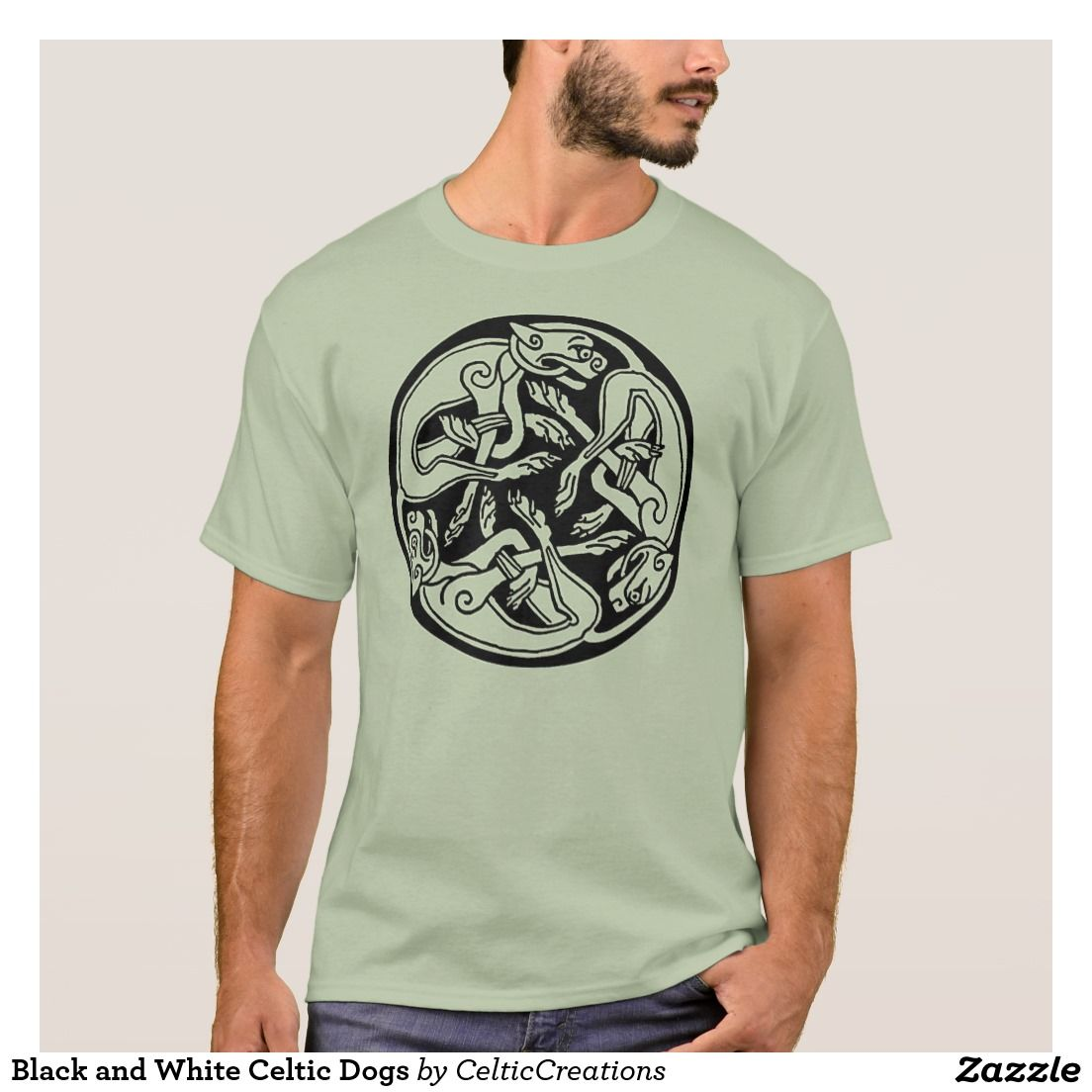 Black and White Celtic Dogs T-Shirt