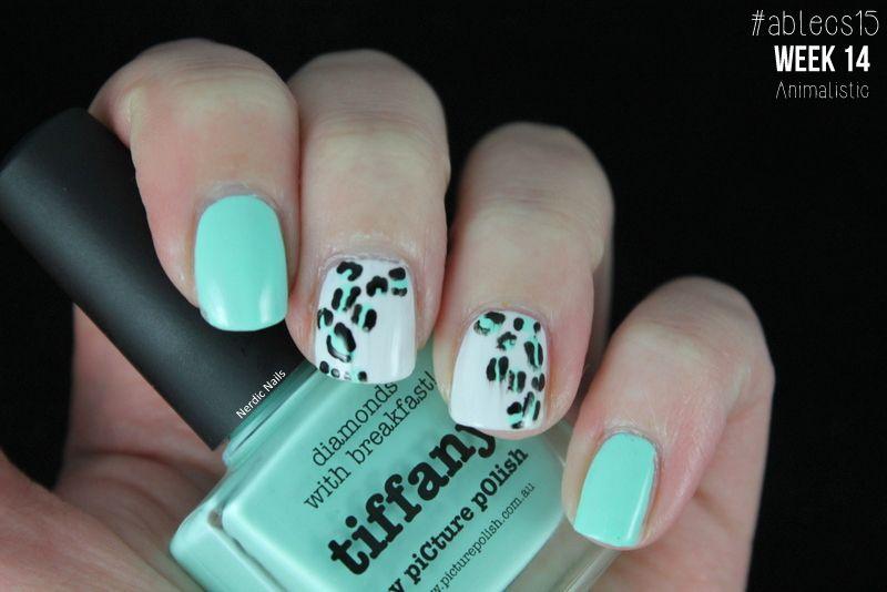 #ablecs15 Week 14: Animalistic. Picture Polish - Tiffany / Gina Tricot - White / China Glaze - Liquid Leather.