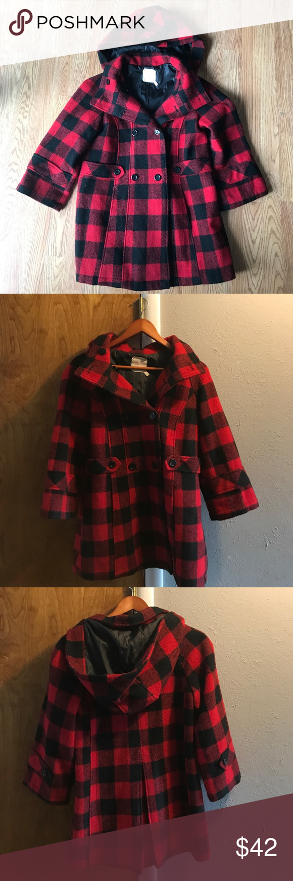 """Urban Outfitters """"Pins and Needles"""" Cape Coat Barely used Wool button up Coat with hood. Beautiful Winter staple for any closet. Urban Outfitters Jackets & Coats"""