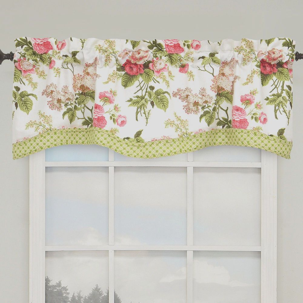 Waverly Emma S Garden Blossom Pink Green Floral Kristy Layered Valance Waverly Curtains Valance Curtains Valance