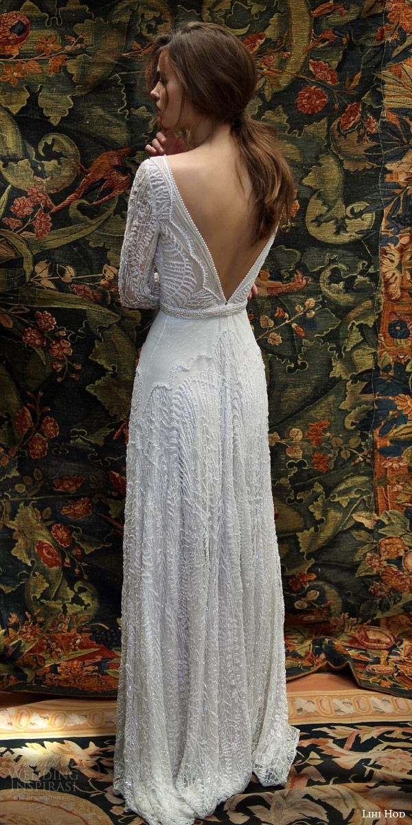 lihi hod bridal 2016 florence long sleeve wedding dress sheath silhouette  deep v neckline pearl beaded bodice plunging back 1343e0d4d8a0