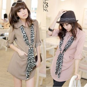 Women 3/4 Sleeve Loose Button Chiffon Shirt Dress Tops With Scarf Tie