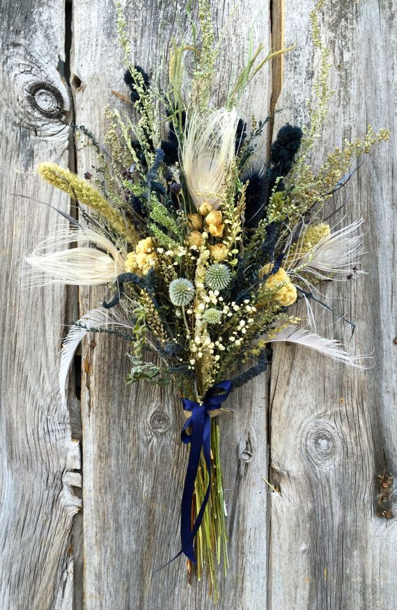 126 Nautical Bridal Bouquet Dried Flower Navy Blue Linen Ivory White Peacock Feather Wedding