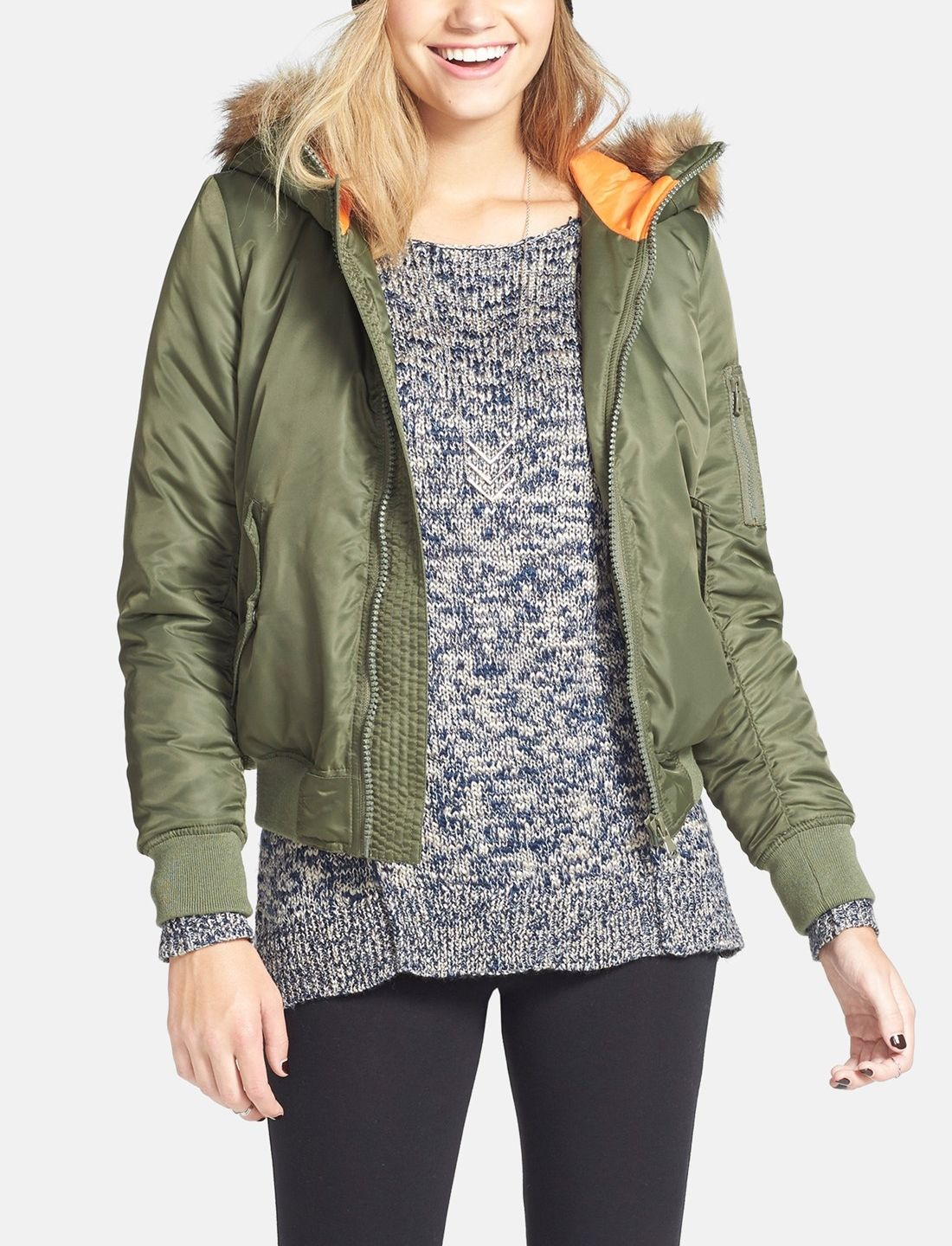 Collection B Twill Bomber Jacket With Faux Fur Trim Hood Juniors Nordstrom Bomber Jacket Jackets Faux Fur Bomber Jacket [ 1440 x 1100 Pixel ]