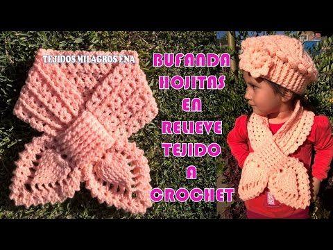 Bufanda a Crochet Puntos elástico Inglés Punto de hojas 3D trenzadas tejido  tallermanualperu - YouTube ec6e2de16a66