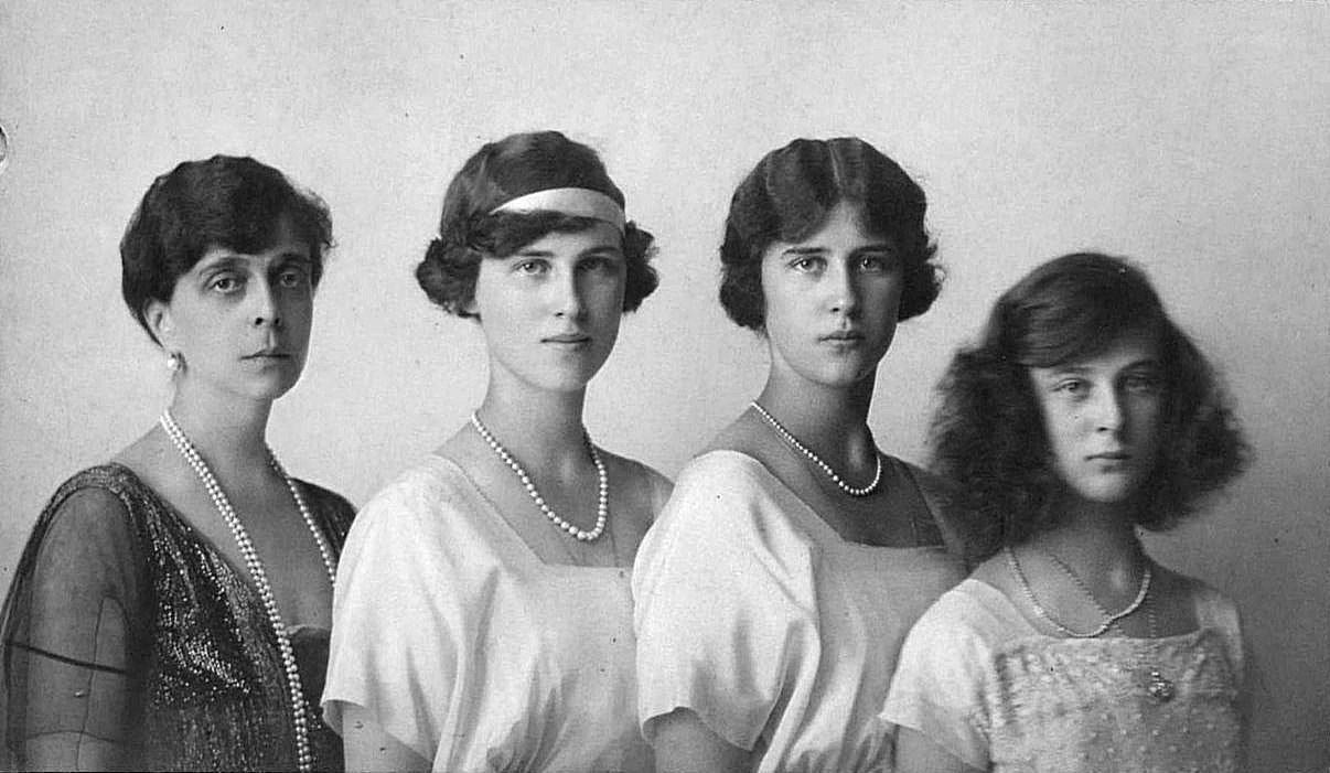 """Princess Helen of Greece, nee Grand Duchess Elena Vladimirovna of Russia, with her three beautiful daughters Princesses Olga, Elisabeth and Marina. """