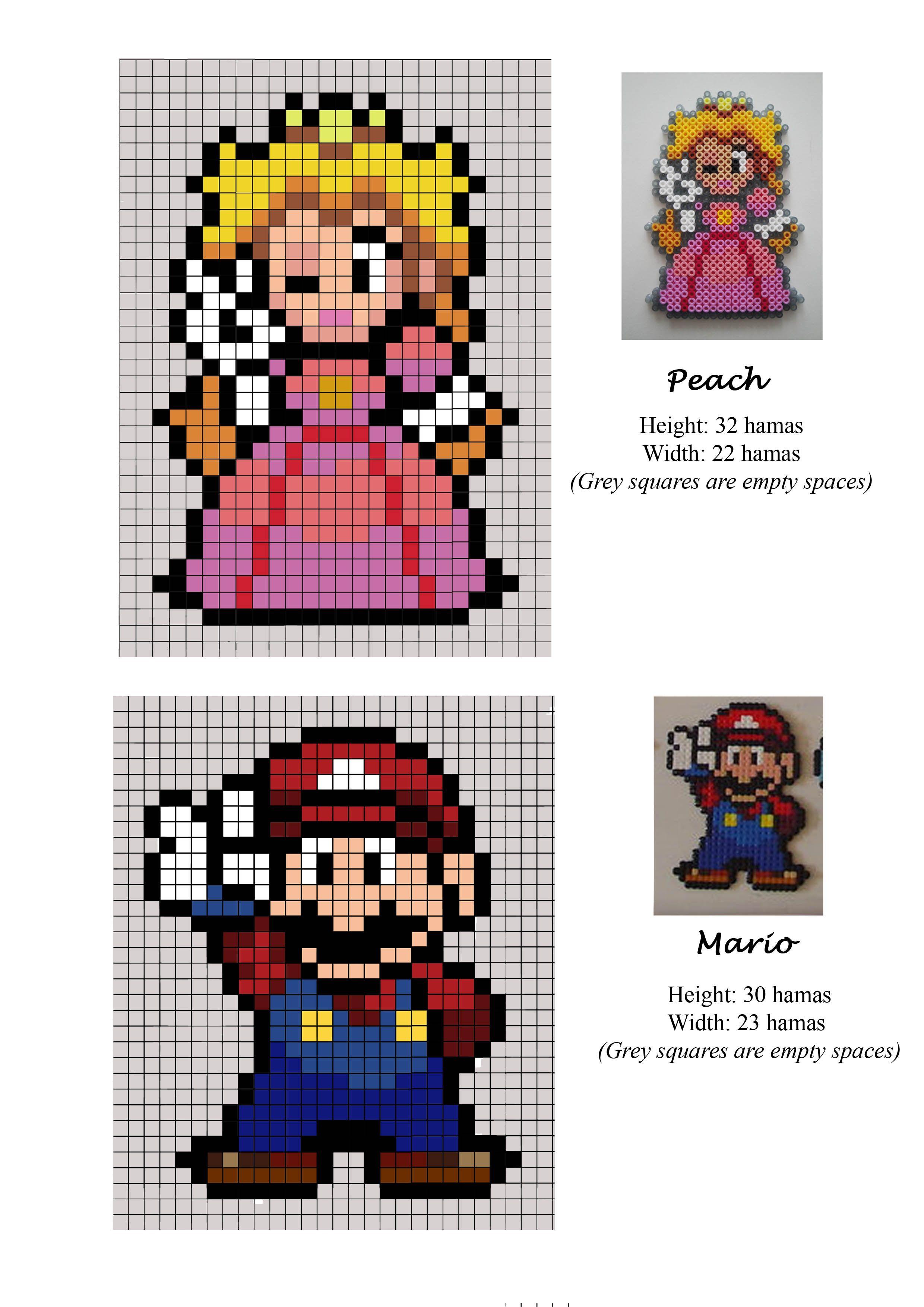 Peach Princess Mario Bros Hama Beads Pattern Pyssla