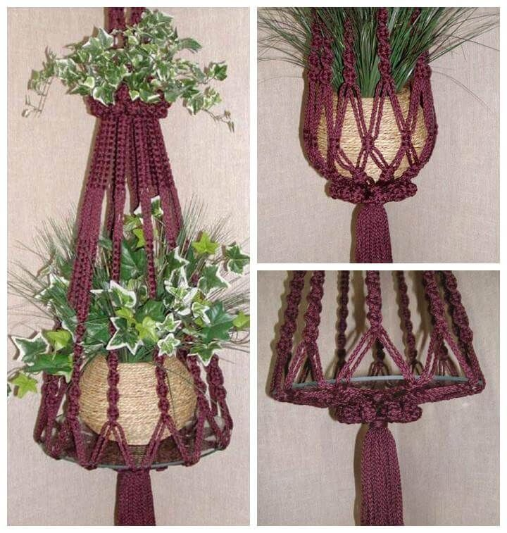how to make a macrame plant hanger step by step