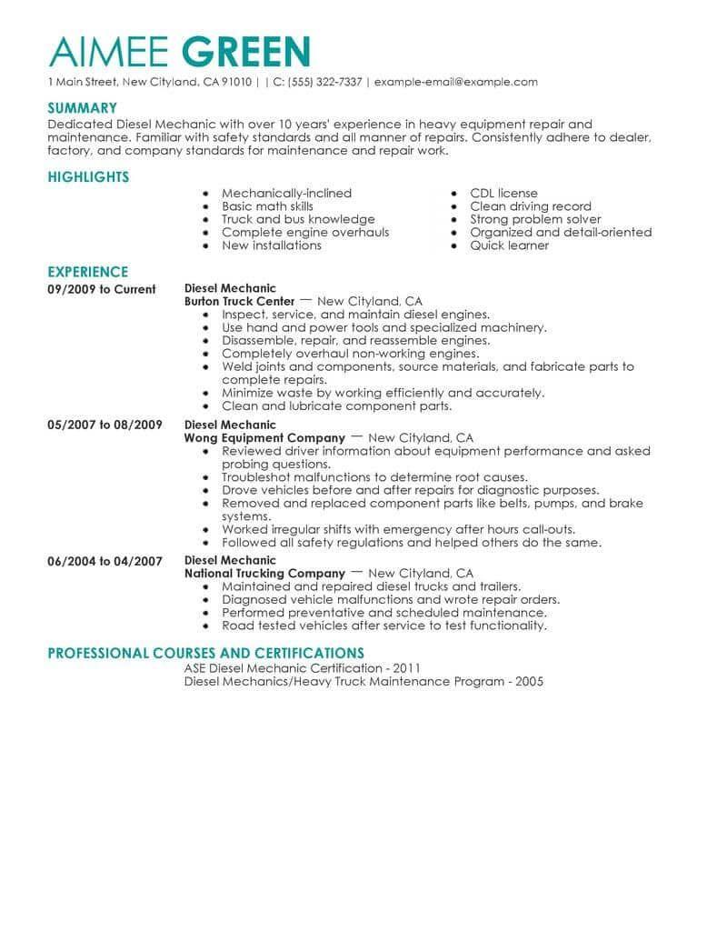 25+ Diesel mechanic resume format Examples