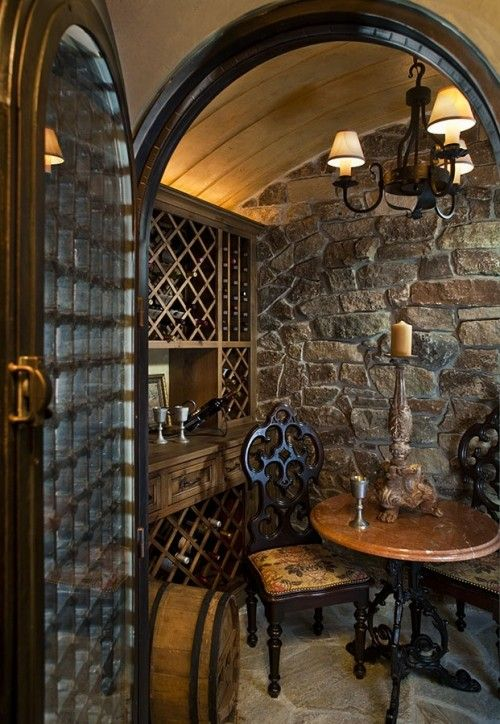 Small stone wine cellar with decorative useful tasting for Wine cellar pinterest