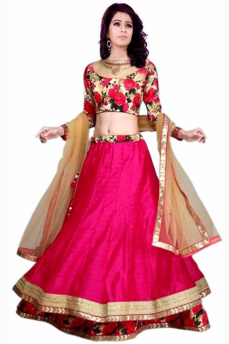 57a41dab38 Pink Art Silk Latest Designer Ghagra Choli | Ghagra choli | Floral ...