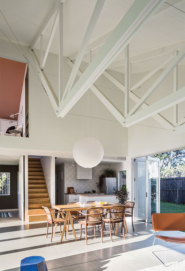 New zealand great room with exposed trusses paper lamp for Exposed roof trusses images