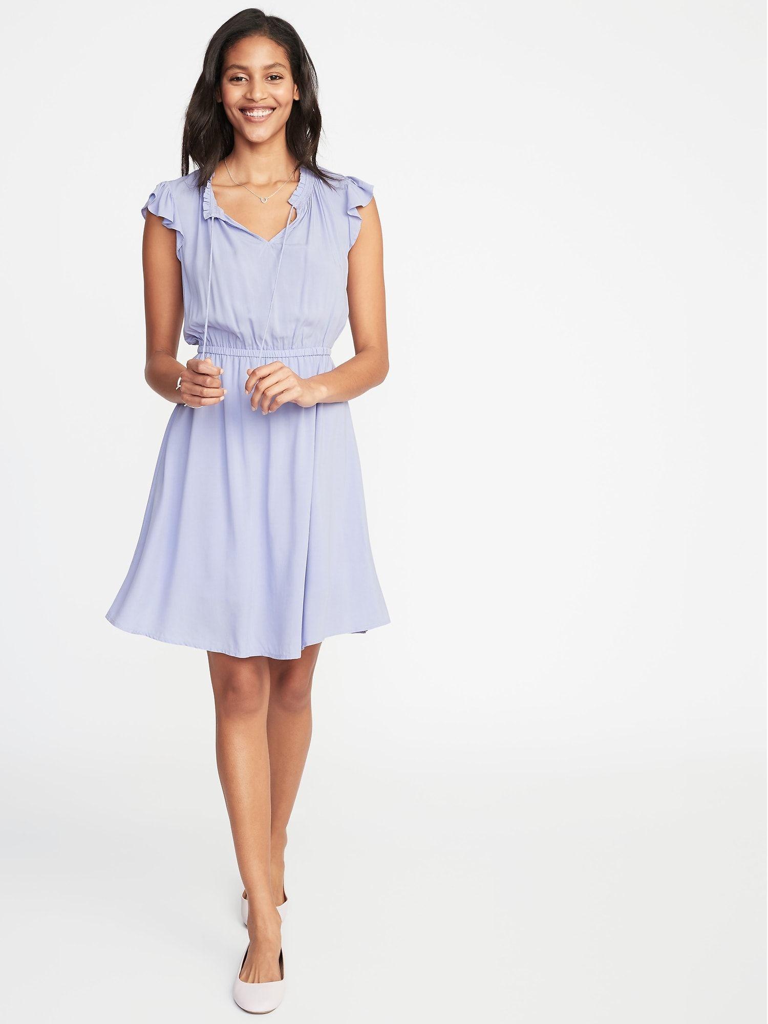 29e919d7ff5 Waist-Defined Flutter-Sleeve Dress for Women in 2019