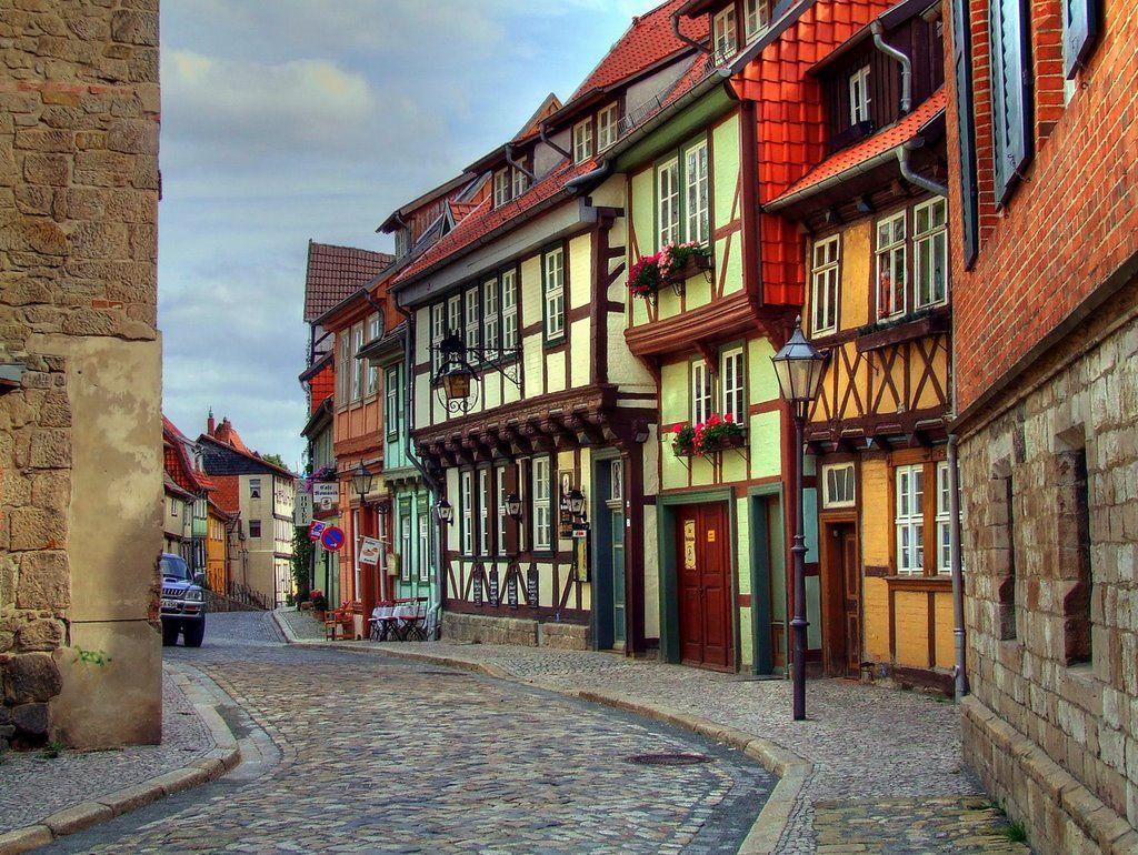 Fachwerk in Quedlinburg Vakwerkhuizen, Duitsland, Fotografie